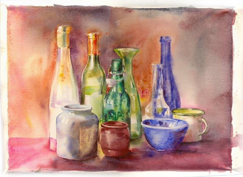 Aquarelle. Bottles aquarelle on a white paper royalty free illustration