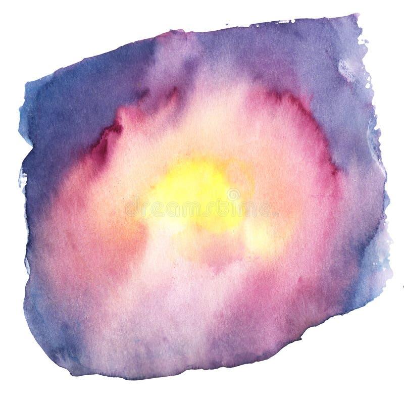Aquarelle abstraite de tache sur un fond blanc rouge, jaune, rose, couleurs pourpres et bleues de gradient illustration libre de droits