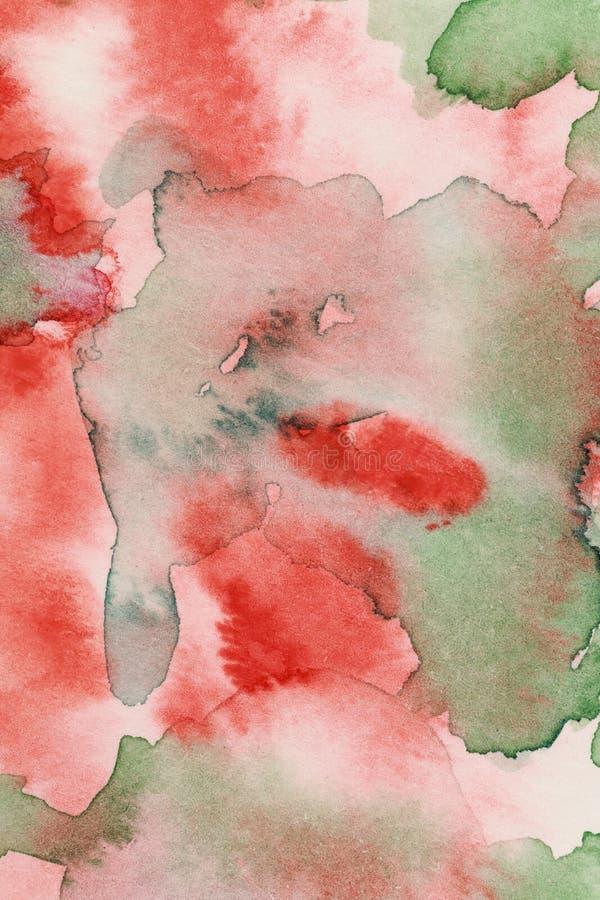 Aquarelle abstraite en rouge et le vert illustration libre de droits