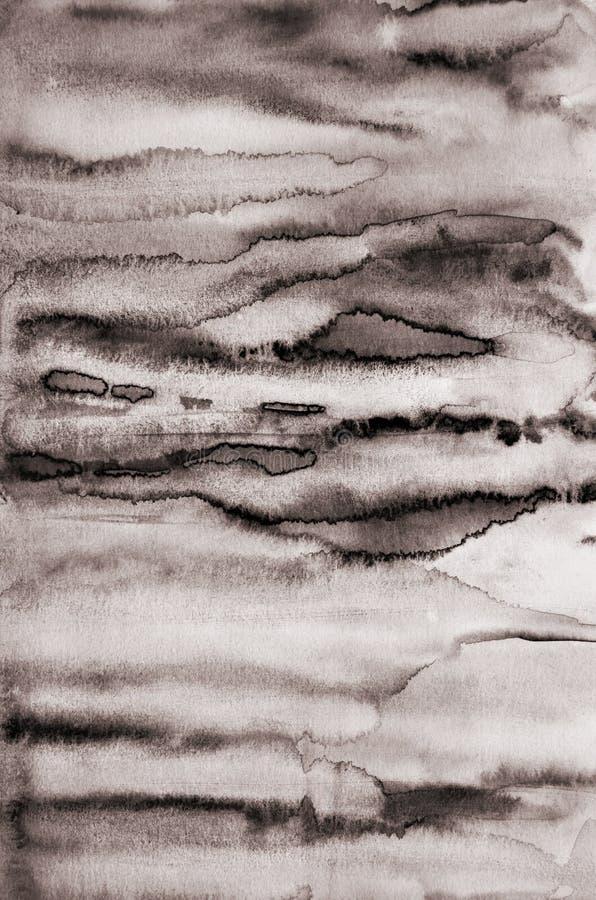 Aquarelle abstraite sur la texture de papier comme fond Dans la tonne de sépia photographie stock libre de droits