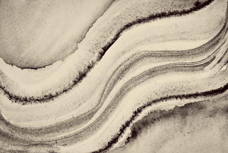 Aquarelle abstraite sur la texture de papier comme fond Dans la tonne de sépia images libres de droits