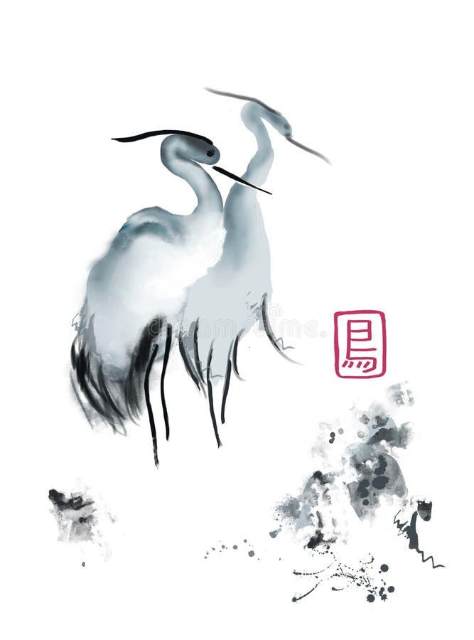 Aquarelle asiatique de grue illustration de vecteur