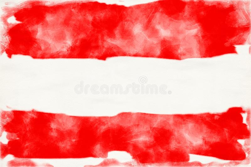 Aquarelle of the austrian flag. In watercolors vector illustration