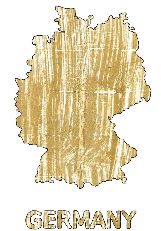 Aquarelle aztèque d'or d'ensemble de carte de l'Allemagne illustration libre de droits