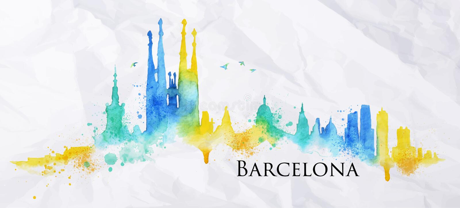 Aquarelle Barcelone de silhouette illustration de vecteur