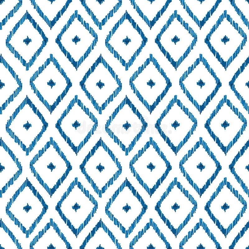 Aquarelle bleue d'ikat de modèle sans couture sur le fond blanc illustration libre de droits