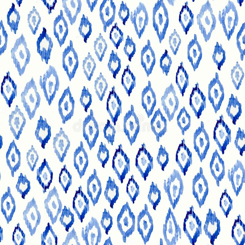 Aquarelle bleue de tissu teint noué sans couture sur le modèle blanc Copie peinte à la main de tissu de style d'encre d'ikat Tein illustration de vecteur