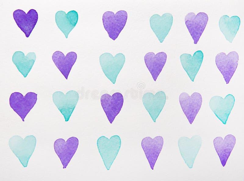 Aquarelle bleue et violette de coeurs illustration libre de droits