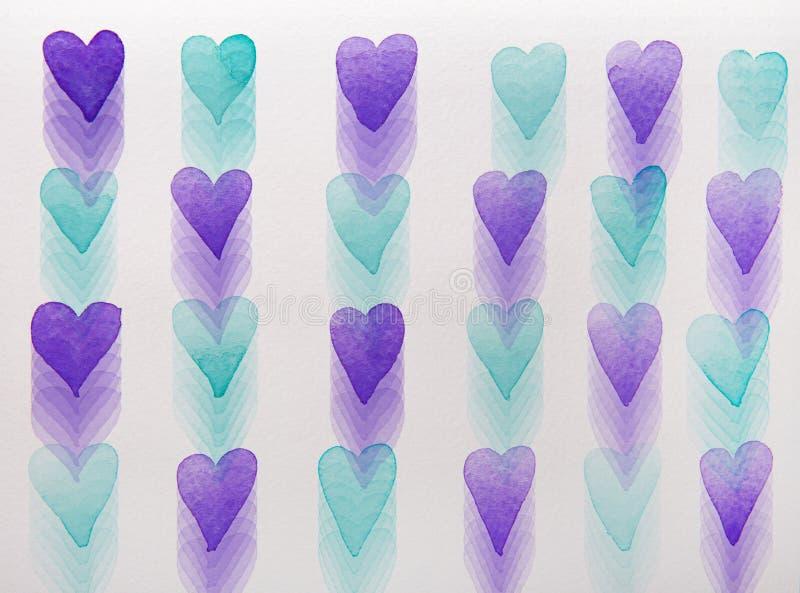Aquarelle bleue et violette de coeurs illustration de vecteur