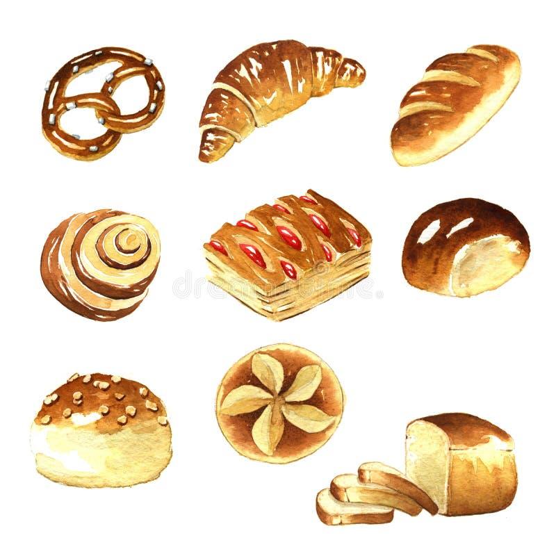 Aquarelle, clipart de pain illustration libre de droits