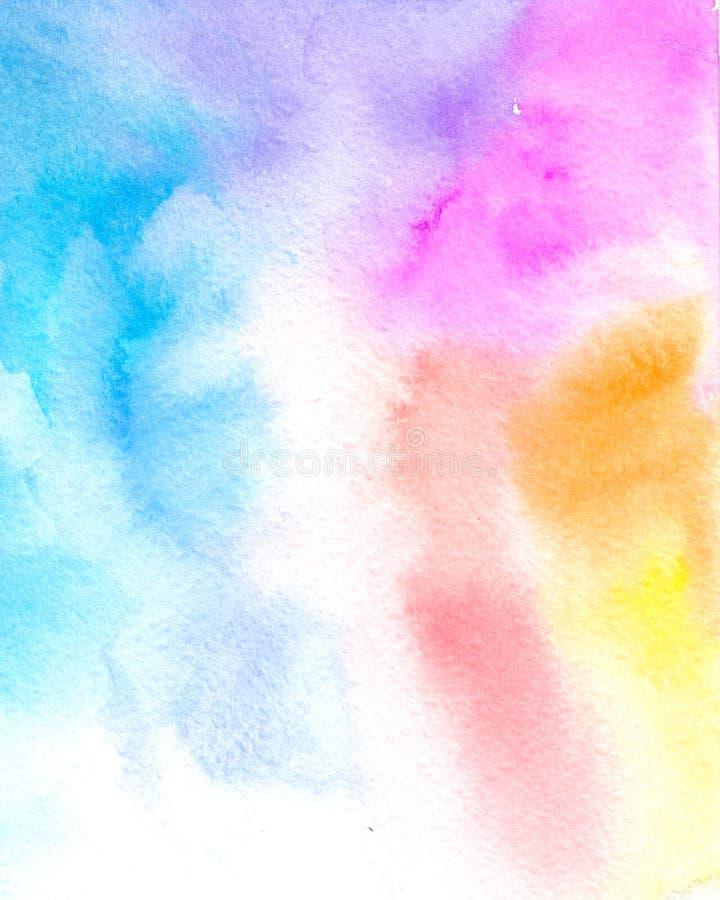Aquarelle colorée abstraite pour le fond Contexte d'arc-en-ciel illustration libre de droits