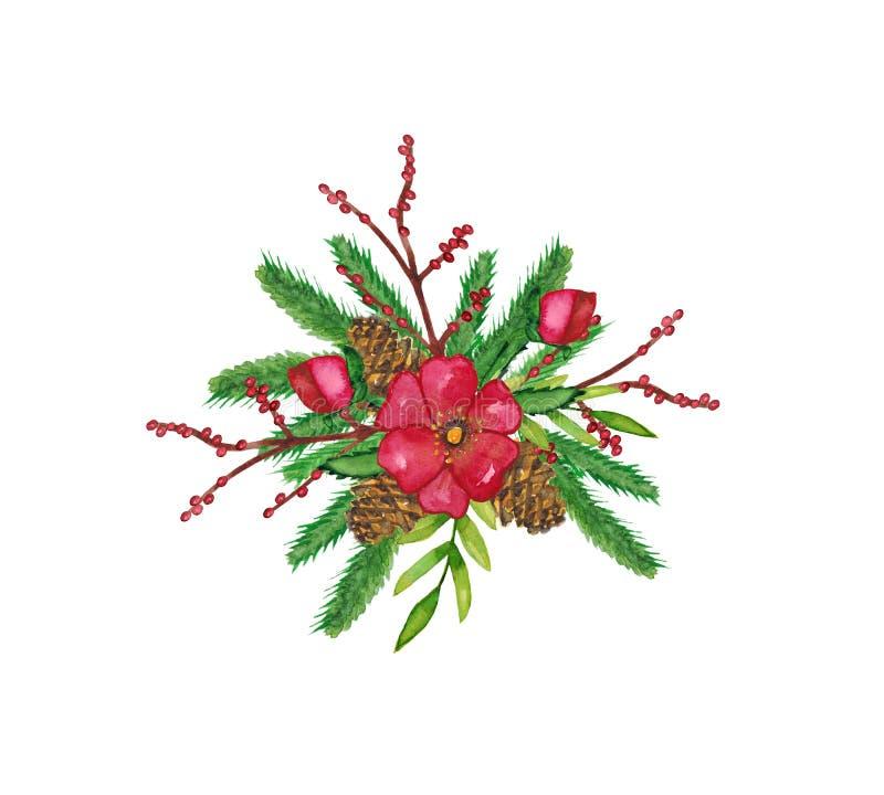 Aquarelle. Composition décorative de Noël en hiver avec sapin de Noël, cônes, fleurs blanches, branches de baies et illustration stock