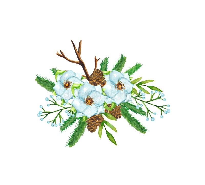 Aquarelle. Composition décorative de Noël hiver avec sapin de Noël, cônes, fleurs blanches, baies et feuilles sur illustration stock