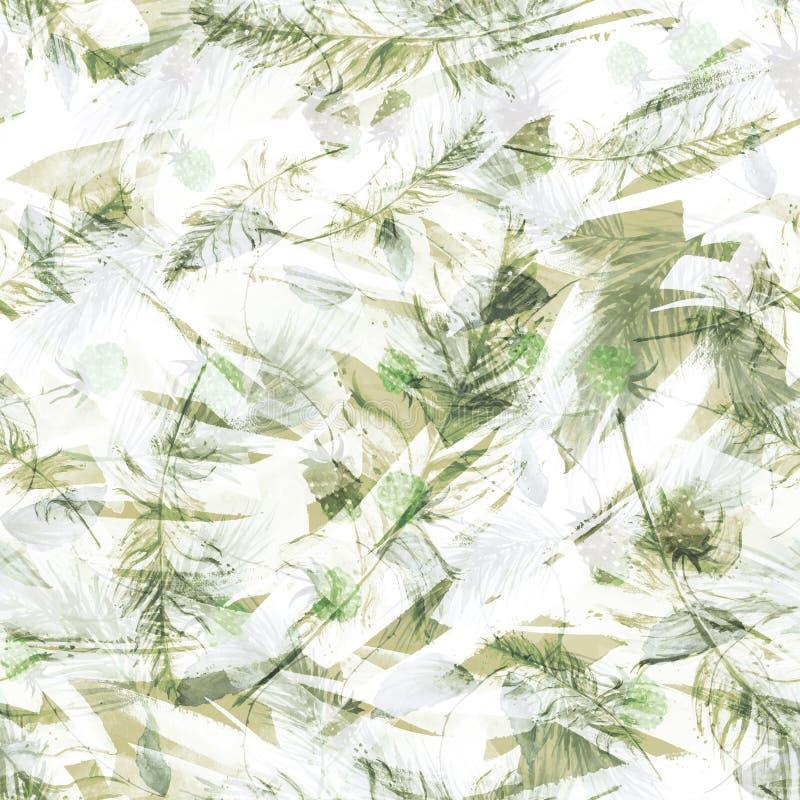 Aquarelle, cru, modèle sans couture en mûres, framboises, branches de pin, sapin, aiguilles illustration stock