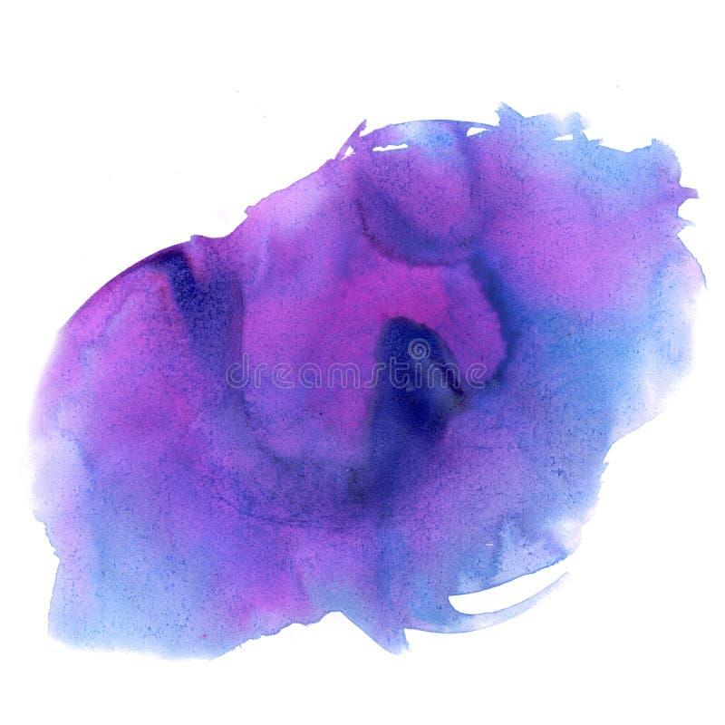 Aquarelle d'éclaboussure la baisse abstraite d'aquarelle a isolé la tache pourpre rose pour votre art de conception illustration libre de droits