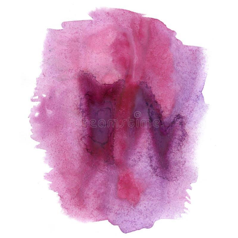 Aquarelle d'éclaboussure la baisse abstraite pourpre rose d'aquarelle a isolé la tache pour votre art de conception illustration libre de droits