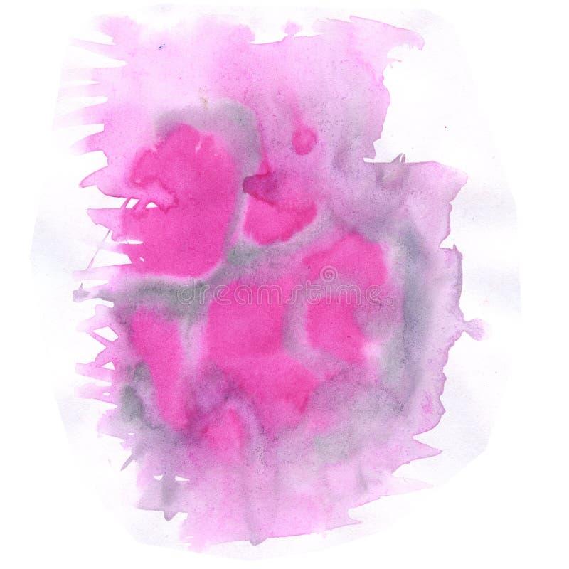 Aquarelle d'éclaboussure la baisse noire rose abstraite d'aquarelle a isolé la tache pour votre art de conception illustration de vecteur
