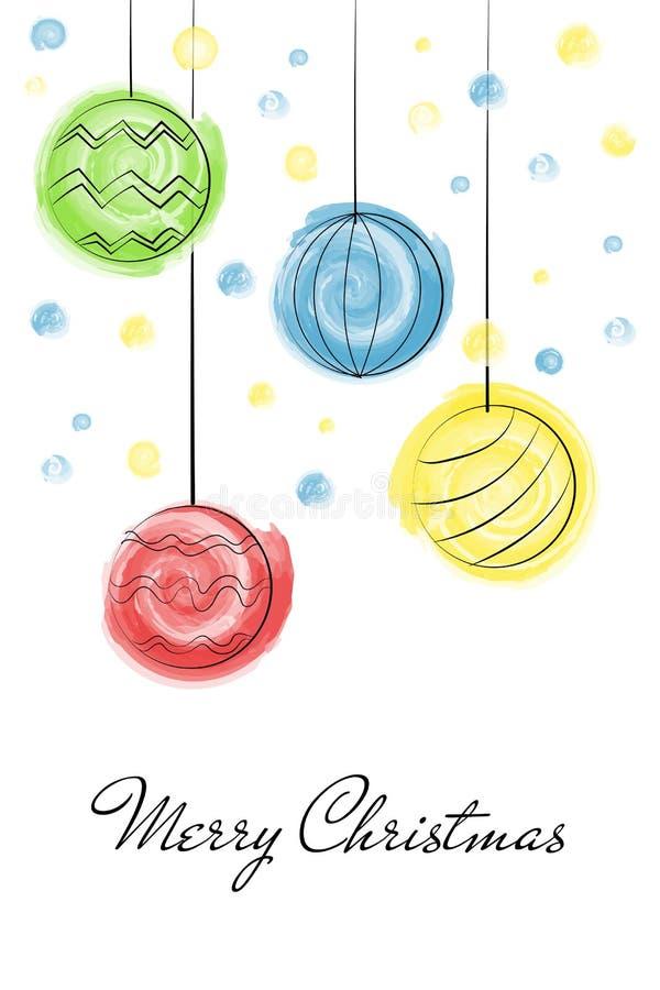 Aquarelle d'aspiration de boules de Noël illustration stock