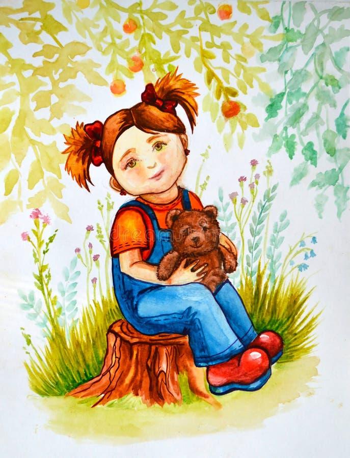 aquarelle d'illustration La petite fille avec les cheveux et les tresses rouges s'assied sur un tronçon dans les bois avec un our illustration libre de droits
