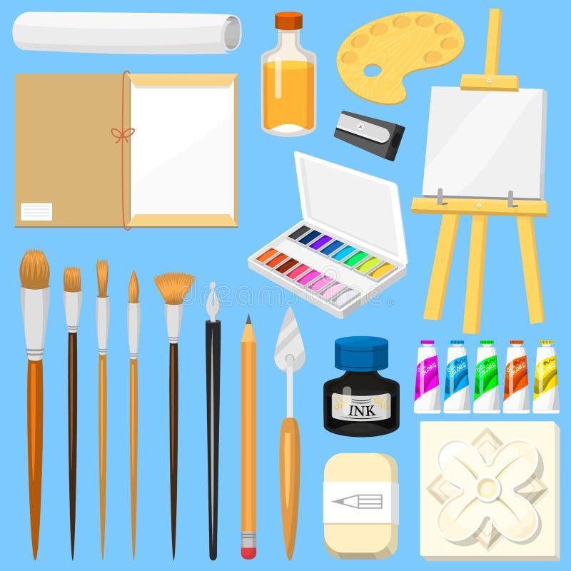 Aquarelle d'outils d'artiste avec des pinceaux palette et des peintures de couleur sur la toile pour l'illustration dans l'illust illustration stock