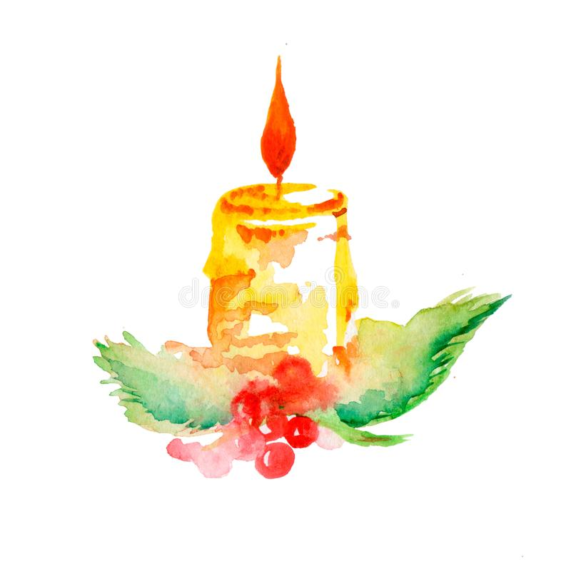 Aquarelle de bougie de Noël illustration stock