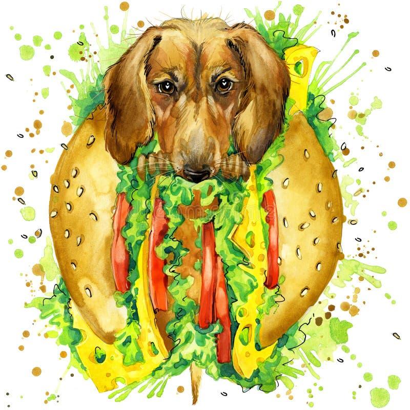 Aquarelle de chien drôle et d'aliments de préparation rapide copie de mode illustration de vecteur