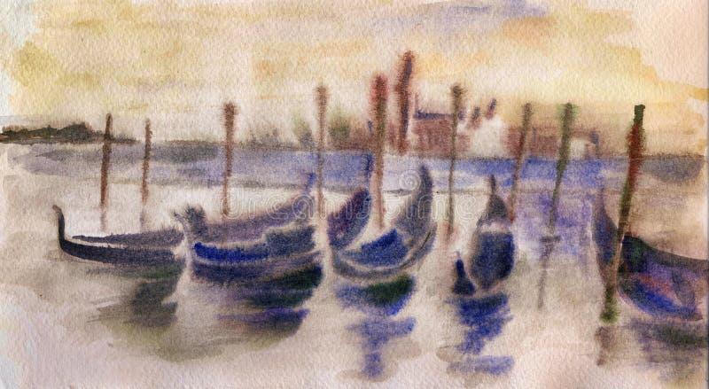 Aquarelle de coucher du soleil de Venices illustration de vecteur