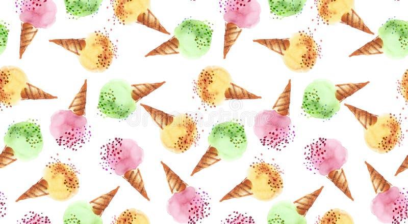 Aquarelle de couleur de dessert de glace assortie par été illustration stock