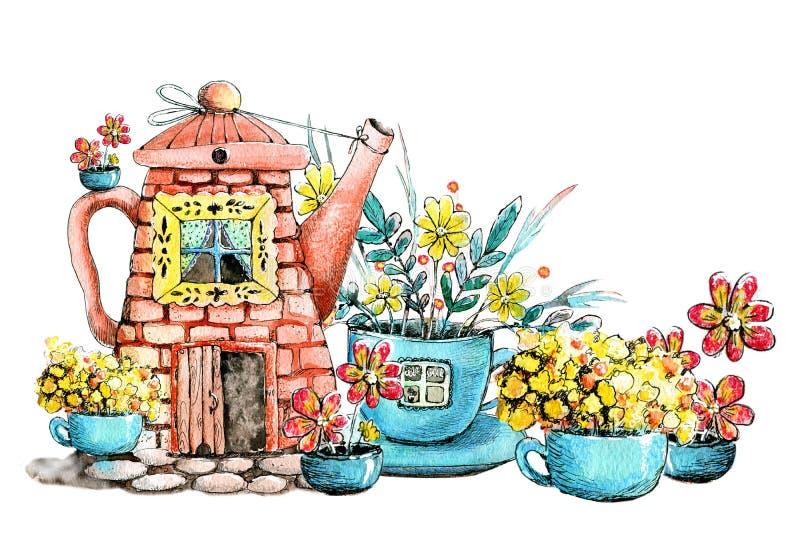 Aquarelle de dessin avec l'image de la maison dans la bouilloire et la tasse Tir? par la main Concept de construction pour le thé illustration libre de droits