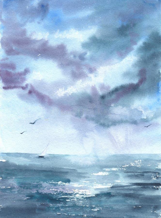 Aquarelle de dessin avec l'image de la mer, bateau, nuages, oiseaux Pour la conception des milieux, cartes, copies, couvertures,  illustration de vecteur