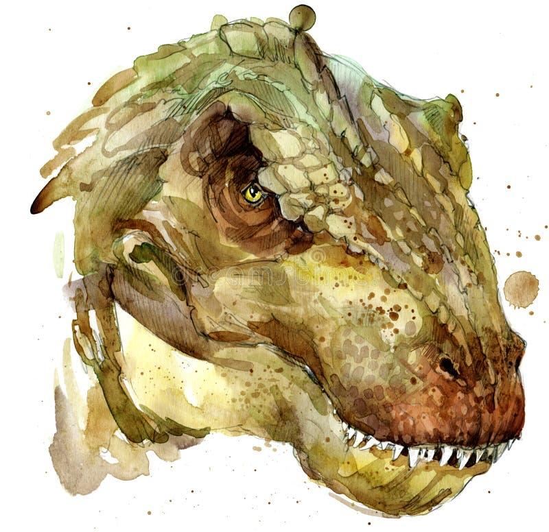 Aquarelle de dessin de dinosaure illustration stock