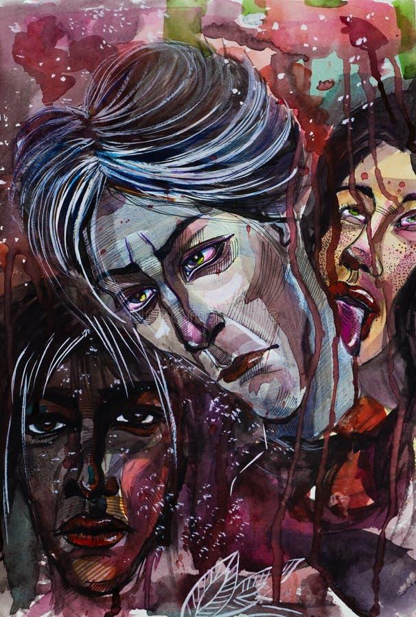 Aquarelle de dessin de Dracula illustration stock
