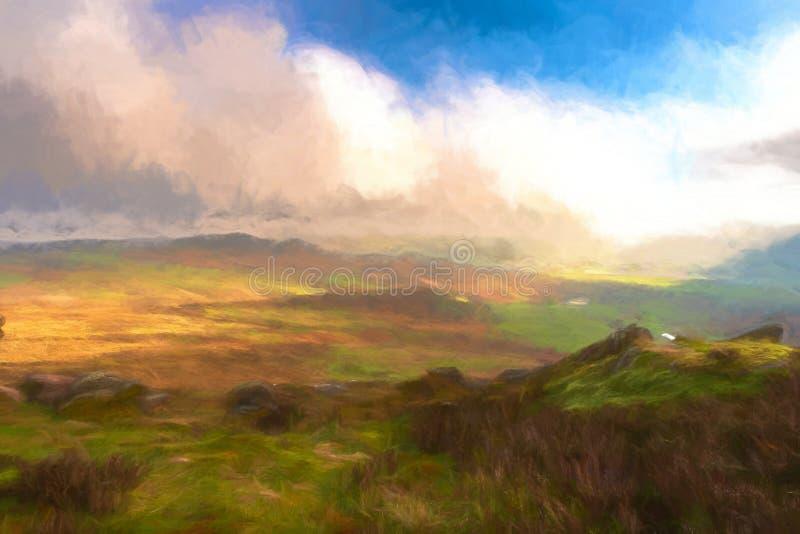 Aquarelle de Digital de la vue des gardons à la roche de Ramshaw illustration de vecteur
