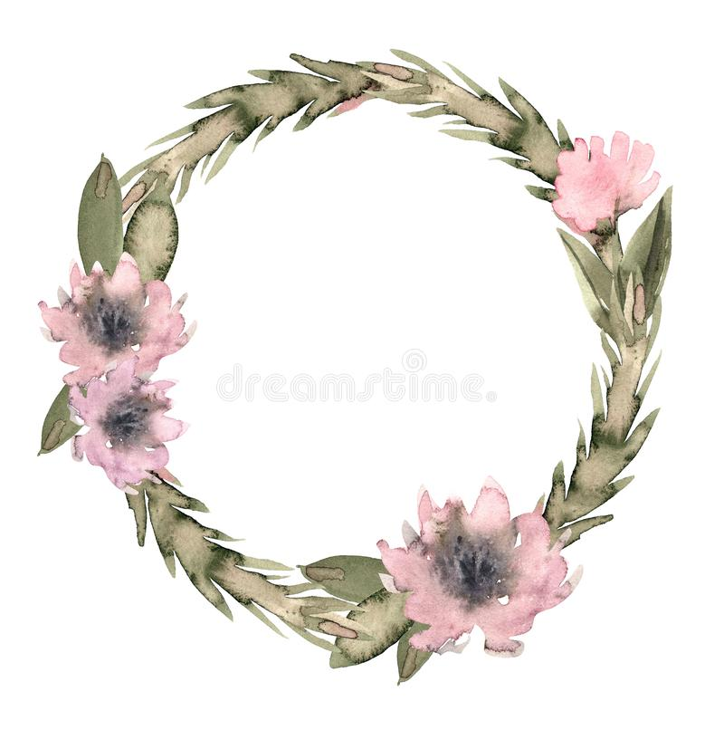 Aquarelle de fleurs de guirlande avec les pivoines roses illustration libre de droits