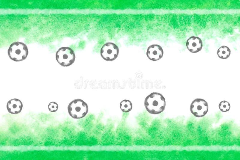 Aquarelle de fond vert de peinture de terrain de football et d'abrégé sur ou de vintage boule illustration libre de droits