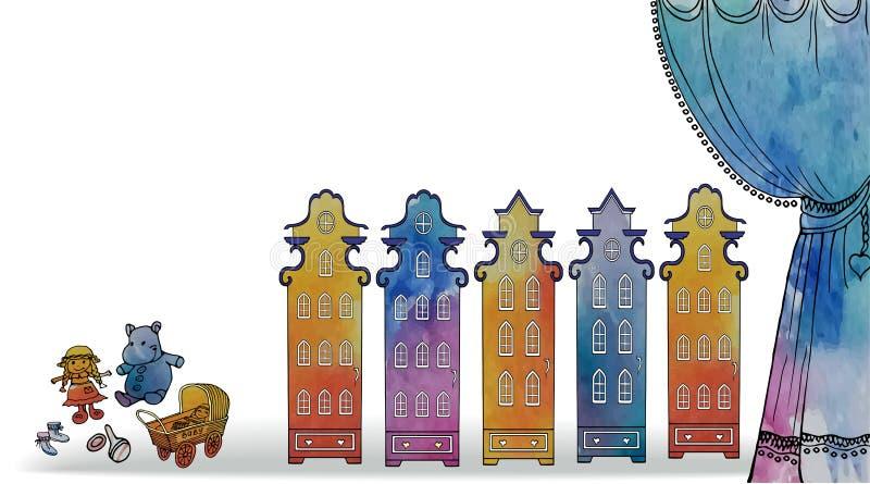 Aquarelle de jouet de maison de bébé de carte illustration stock