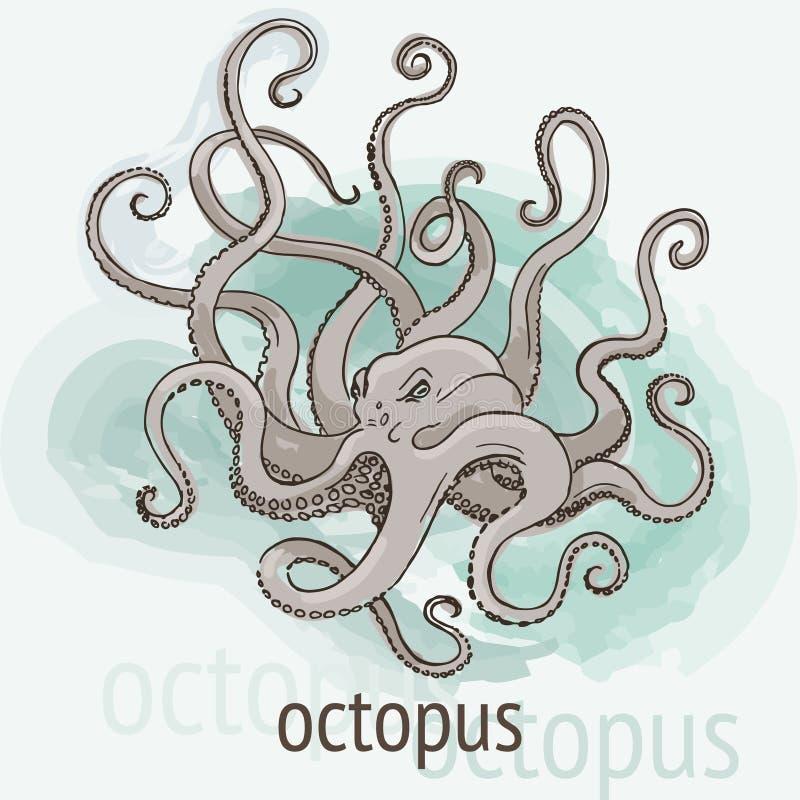Aquarelle de Kraken de poulpe illustration stock