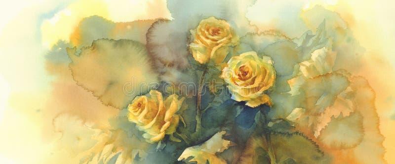 Aquarelle de l'encore-vie de roses jaunes photos libres de droits
