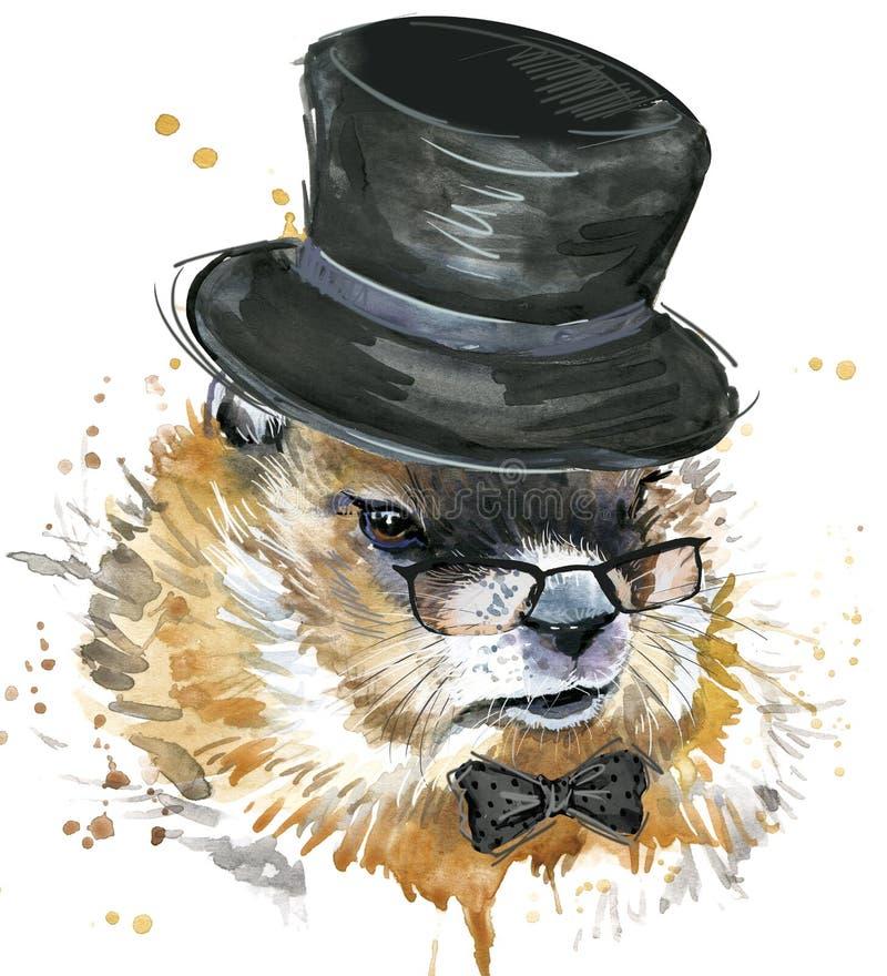 Aquarelle de Marmot Jour de Groundhog illustration stock