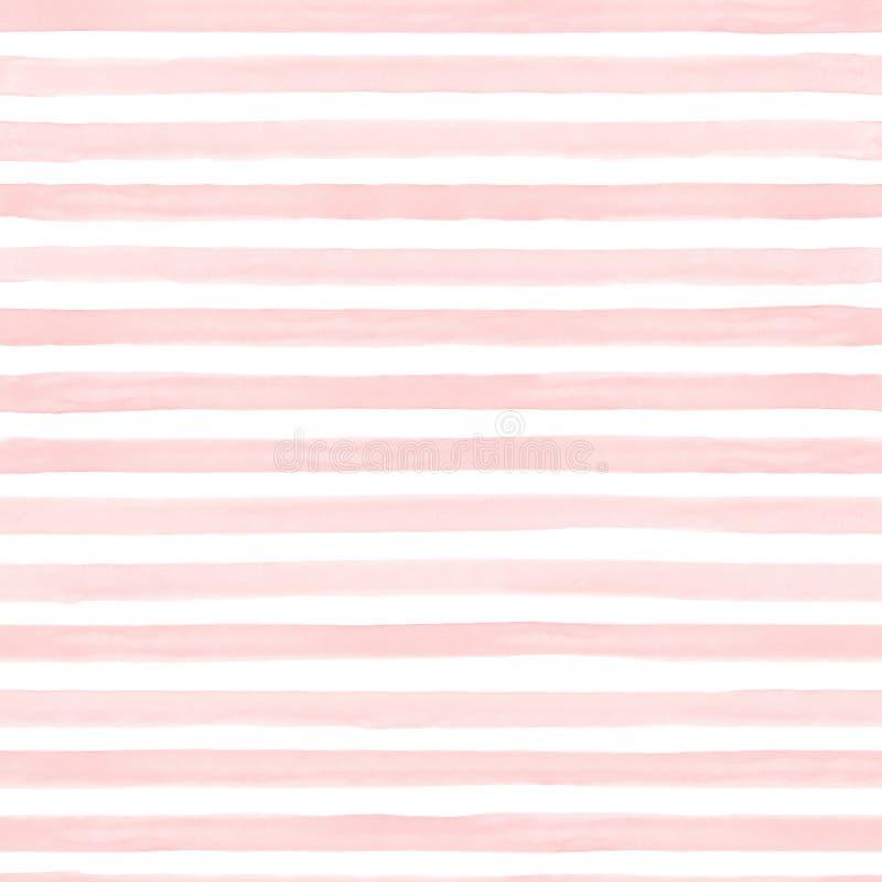 Aquarelle de modèle dépouillée par résumé sans couture peinte à la main Bandes en pastel blanches et colorées de ton Traits horiz illustration de vecteur