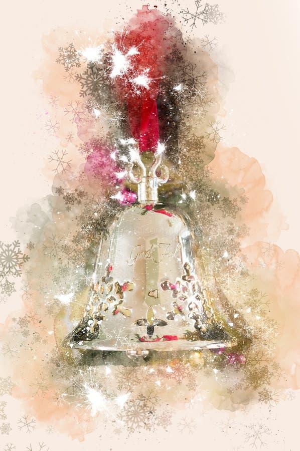 Aquarelle de Noël de Digital d'une photographie d'un Décoration-argent traditionnel Bell de Noël photos stock