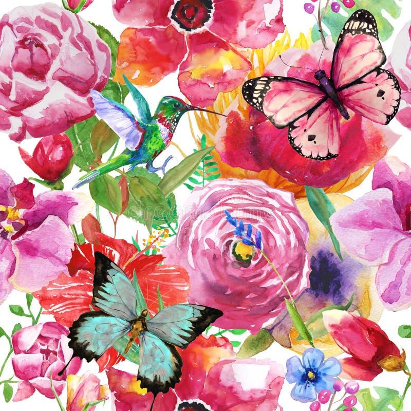 Aquarelle de papillon et de roses d'oiseau illustration de vecteur