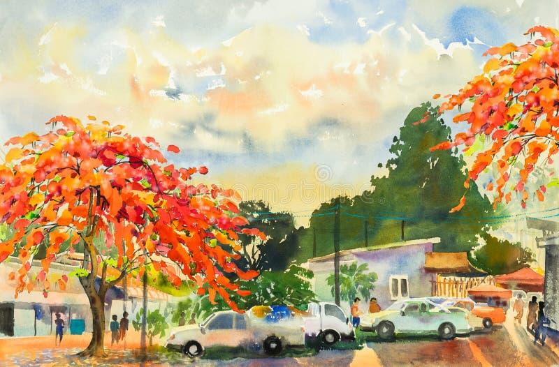 Aquarelle de paysage de peinture des fleurs de paon sur le marché de gens du pays illustration libre de droits