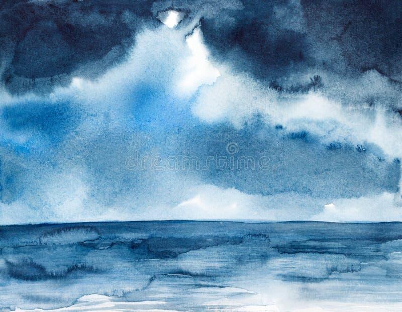 Aquarelle de paysage marin de tempête peinte illustration stock