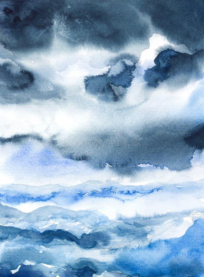 Aquarelle de paysage marin de tempête peinte illustration de vecteur