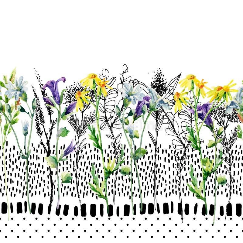 Aquarelle de pré et modèle sans couture de fleur d'encre illustration stock