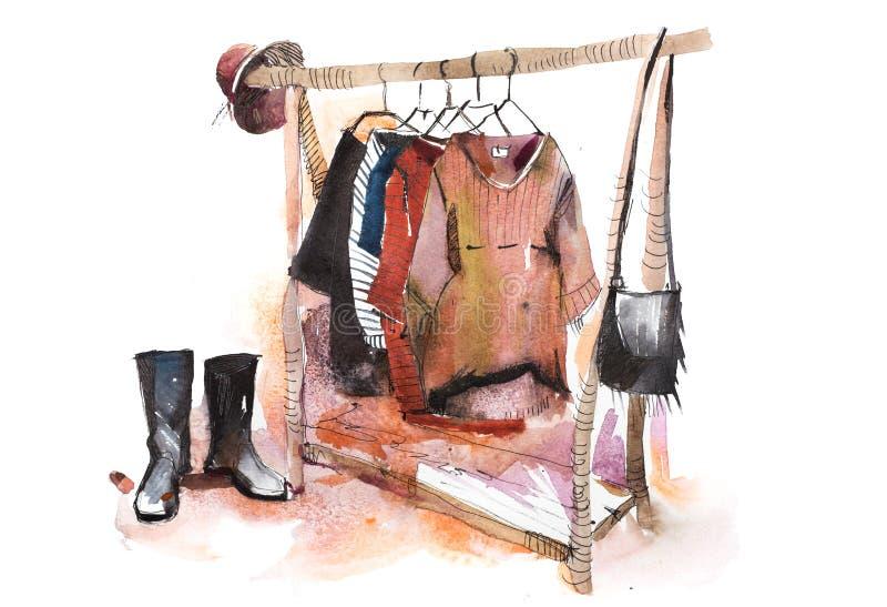 Aquarelle de support de vêtement d'affichage d'habillement d'exposition de vêtements de magasin de centre commercial illustration libre de droits