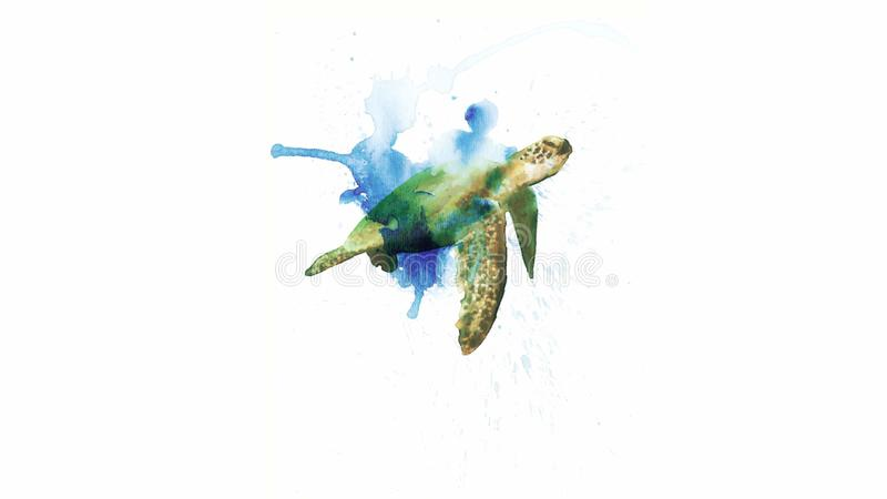 Aquarelle de tortue de mer illustration libre de droits