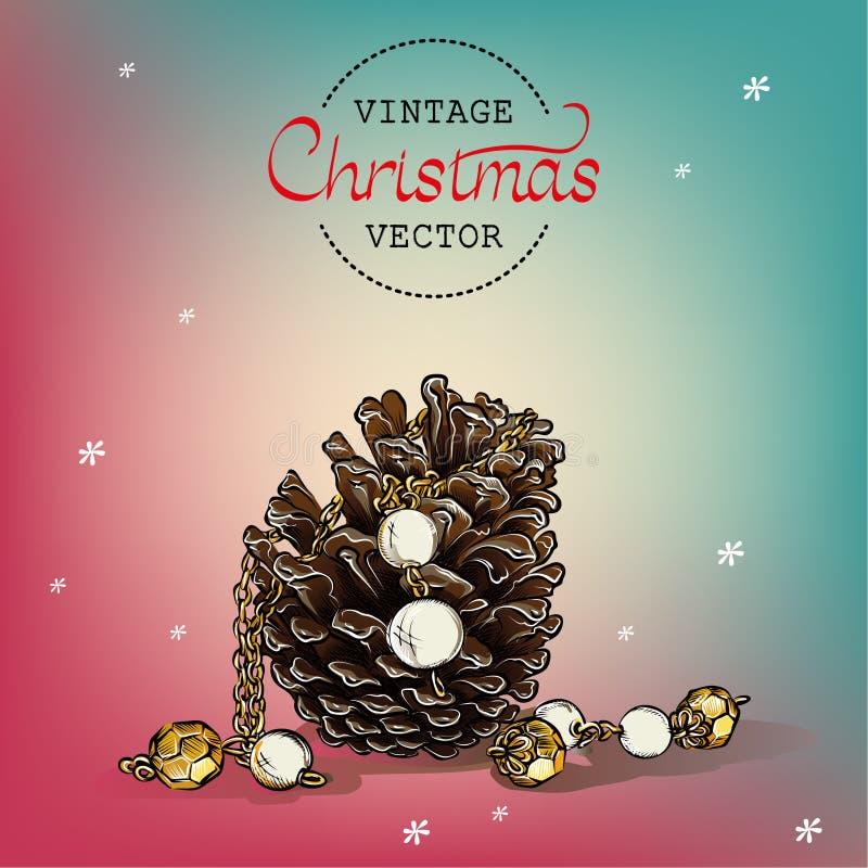 Aquarelle de vecteur de cône de pin de Noël de vintage images libres de droits