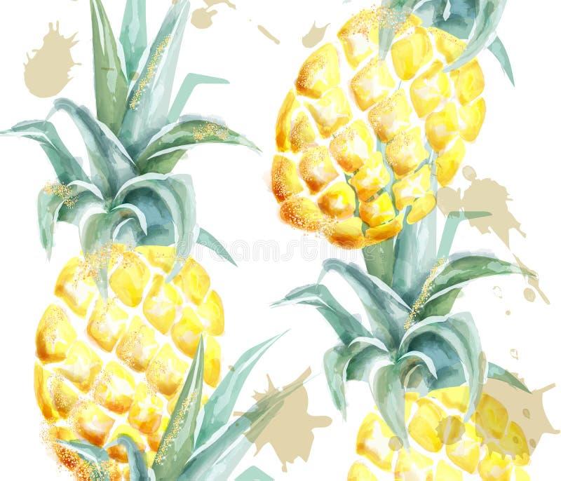 Aquarelle de vecteur de modèle d'ananas Fruits tropicaux avec le scintillement sur le fond blanc Marquez les illustrations exotiq illustration libre de droits